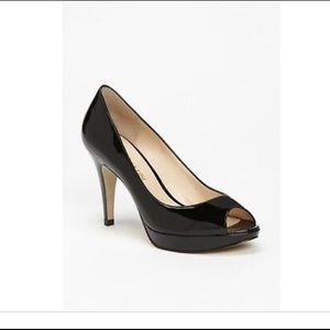 Black patent leather peep toe heels 8.5